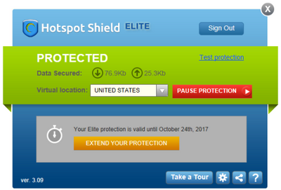 Hotspot Shield Interface