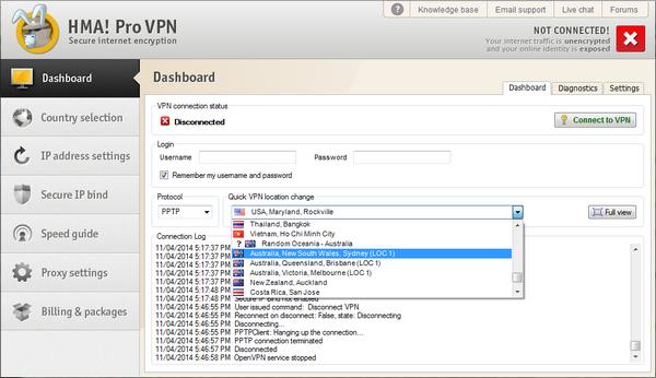 Australia VPN HideMyAss Interface